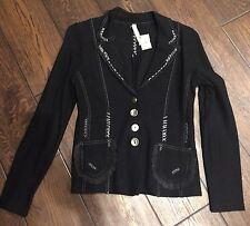 BNWT Oui Moments Womens Black Wool Cardigan Jacket Size 4 US