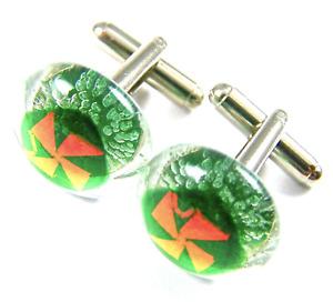 DICHROIC GLASS Cuff Links Green Copper Pinwheel Pattern Mens Formal Wear Casual