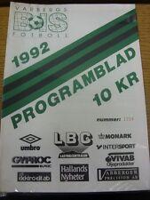 11/07/1992 Varbergs BoIS v Jonkoping Sodra  (slight marked). Thanks for viewing