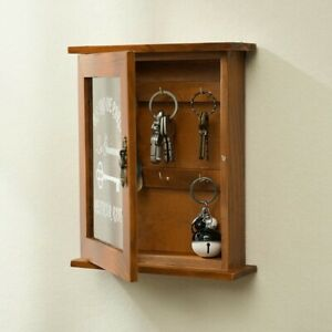 6 Hooks Creative Wooden Wall Key Cupboard Rack Holder Cabinet Storage Box Decor
