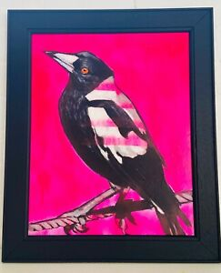 Original Acrylic Painting MAGPIE Bright Pink Rustic Frame