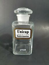 """Rare Vintage Upjohn Unicap Multivitamins 4"""" Bottle with All Glass Stopper Top"""