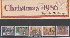 GB 1986 paquete de presentación de Navidad Nº 176 SG: 1341-1346 conjunto de sello de menta