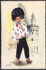 Embroidered Postcard: Spanish Boy. Free UK Postage