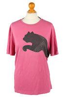 Vintage Puma Womens T-Shirt Tee Crew Neck Classic Black Logo 90s L Pink - TS443
