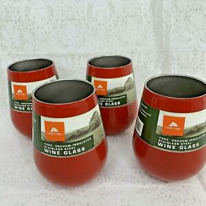 4 Red Ozark Trail 14 oz Stainless Steel Stemless Wine Glass Hot Cold Insulated