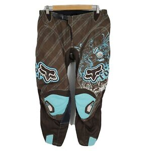 Fox Racing Womens Motor Cross 180 Pants Motorcycle Turquoise Blue Brown Sz 9-10