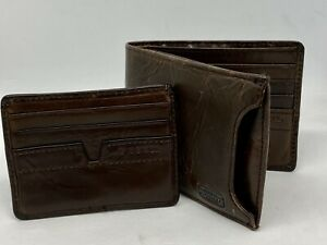 Fossil Sliding 2-in-1 Bifold Wallet - Dark Brown - Preowned