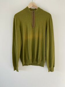 Massimo Dutti Cotton Cashmere Mens Jumper Elbow Patches Size M 38 Olive Green