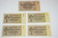 1937, 1 & 2 Rentenmark Germany a Lot 5 Very High Value / 4 High Grade Banknotes