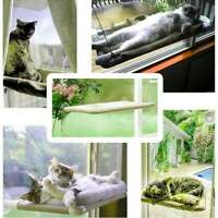 Pet Cat Window Mounted Basking Bed Puppy Kitten Shelf Perch Seat High Hammock