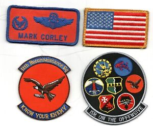 12TH RECON SQUADRON USAF PATCH LOT NAME TAG PILOT MAJOR HOOK BACKIN RQ-4