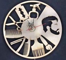 Barber Wall Clock Gift Home Decor Comics Poster Wood Laser Burn Art Sculpture