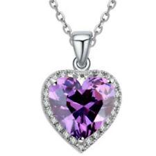 """Oro Blanco Acabado Púrpura Collar Colgante de Corazón 18"""" Cadena De Calidad Joyas UK"""