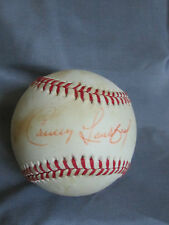 CARNEY LANSFORD  SIGNED RAWLINGS BASEBALL STAINED BALL