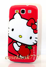 for samsung galaxy S3 phone case hello kitty kitten white and hot pink // SIII