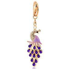 Handbag Keys Buckle Charms Accessories Purple Peacock Keyrings Key Chains HK101