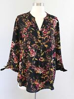 Ivanka Trump Black Floral Print 3/4 Sleeve Tie Cuff Popover Blouse Top Size L