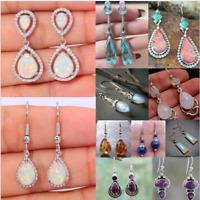Fire Opal 925 Silver Dangle Drop Earrings Ear Hook Moonstone Women Jewelry Gift