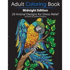 FREE 2 DAY SHIPPING: Adult Coloring Book: Midnight Edition: 29 Animal Designs