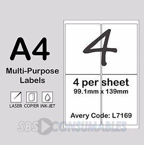 4 Per Sheet Printable Address Labels. A4, Self-Adhesive, Multi-Use - 500 Sheets.