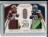 RARE 2018 IMMACULATE DUAL JERSEY 3 COLOR PATCH RASHAAD PENNY~ROBERTY KELLEY #/50