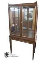 Regency Style Mahogany Curio Display Cabinet Hutch W/ Drawers Traditional 67""