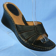 BOC Black Leather Wedge Slide Sandals/Shoes BC3028 Womens Size 10 M