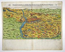 SEBASTIAN MÜNSTER COSMOGRAPHIA HOLZSCHNITT BATAILLE DE SAINT-QUENTIN 1598 #D981S