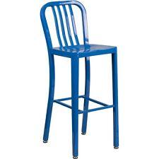 Flash Furniture 30in High Blue Metal Indoor-Outdoor Barstool, Vertical Slat Back
