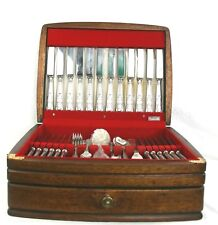 Vintage Silver Plated Canteen of Cutlery Kings Pattern 125 Pieces Oak Case