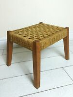 Mid Century Danish Paper Cord Splayed Teak Legged Woven String Foot Stool