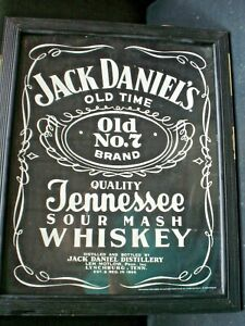 old 58 x 47 cm glass framed jack daniels advertising poster mexian made 1998 p/u