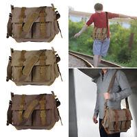 "Men's Military Canvas Leather Satchel School 14"" Laptop Shoulder Messenger Bag *"