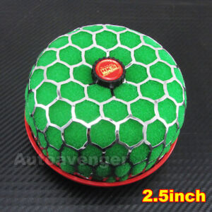 2.5 inch 64mm Green Mashroom Style Washable Air Intake Filters Prerformance