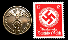 Old Wwii German War Two Rp Coin & Rarest 12 pf Red Stamp World War 2 Artifacts