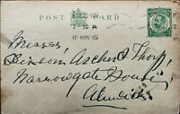 King George V ½ Penny Antique Postcard Posted from Newcastle 10th November 1915