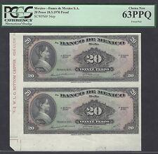 Mexico 20 Pesos 1970 P54op Uncut sheet Proof  Uncirculated