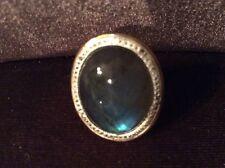 New Oval Labradorite Ring w/ Diamond Cut Border 14K yellow Gold size 7