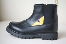 FENDI KIDS LEATHER ZIP-UP BOOTS WITH YELLOW MONSTER EYES EU 26 UK 8.5