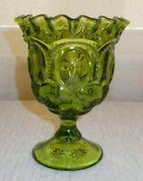 VTG L.E. SMITH GREEN GLASS RUFFLED EDGE PEDESTAL BOWL MOON & STARS PATTERN (B20)