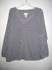 CHICO'S 3 XL TUNIC BLOUSE KNIT TOP STRIPED LONG  SLEEVES BLACK WHITE POLYESTER