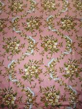 ancien tissu textile coupon imprimé vintage fleur rose 60x124cm / A