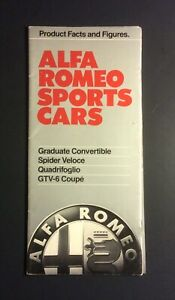 Alfa Romeo Sports Cars 1986 Products Facts & Figures Brochure