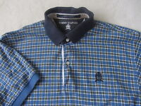 Tommy Hilfiger Boy's 100% Cotton S/S Blue Checkered Plaid Polo Shirt - Large