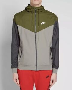 Nike Windrunner Jacket - LARGE - 727324-395 Navy Olive Gray Grey Hooded Hoodie