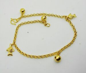 Fish 22K 23K 24K Gold Plated Foots Jewelry Bracelet Charm Anklet Bell 9 inch
