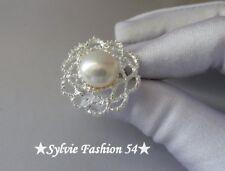 Unique Imposante bague argent 925 ciselée décorée Perle blanche naturelle T 57