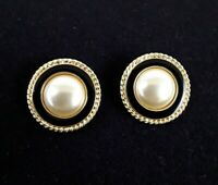 Vintage Kenneth Jay Lane KJL Faux Pearl Enamel Gold Tone Pierced Earrings EUC
