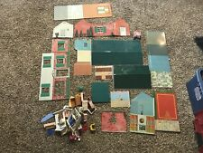 Vintage Mid Century Marx Tin Litho 2-Story Colonial House Dollhouse & Furniture